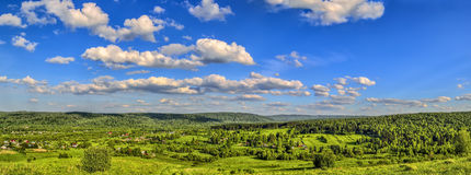Summer landscape panorama - view from the top of the hill Stock Images
