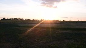 Summer landscape. Panoramic view of roads. View of sunset stock footage