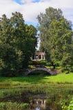 Summer landscape of the Pavlovsk garden, Apollo Colonnade Royalty Free Stock Photos