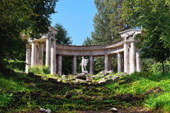Summer landscape of the Pavlovsk garden, Apollo Colonnade Stock Image