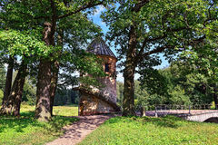 Summer landscape of the Pavlovsk garden, Pil-Tower pavilion. Stock Images