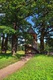 Summer landscape of the Pavlovsk garden, Pil-Tower pavilion. Summer landscape of the Pavlovsk garden, Russia. View to the Pil-Tower pavilion Stock Photo