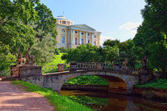 Summer landscape of the Pavlovsk garden, Russia. View to the pal stock image