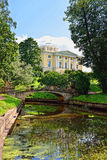 Summer landscape of the Pavlovsk garden, Russia. View to the pal Royalty Free Stock Image