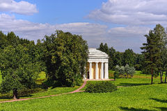 Summer landscape of the Pavlovsk garden, Temple of Friendship Stock Photos