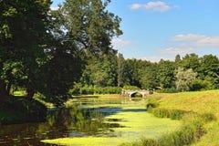 Summer landscape of the Pavlovsk garden. Visconti Bridge Stock Image