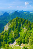 Summer landscape Pieniny Mountains green trees blue sky stock photography