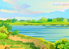 Summer landscape with a pond. And meadow grass on the background color of the cloudy sky. Vector illustration Stock Image