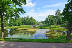 Summer landscape with a pond in Palace park of Gatchina Royalty Free Stock Photos
