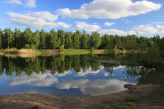 Summer landscape - pond in the park Stock Photo