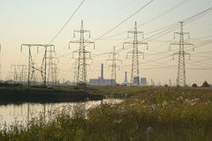 Summer landscape with power line Stock Image