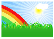 Summer landscape with rainbow Stock Photo