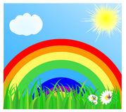 Summer landscape with a rainbow. The blue sky, the sun, cloud and a green grass. vector illustration Stock Photo
