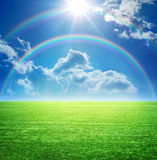 Landscape with a rainbow Royalty Free Stock Images