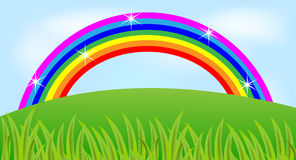 Summer landscape with a rainbow and green grass. Vector illustration Stock Photography