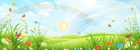 Summer landscape with rainbow. Summer meadow landscape with green grass, flowers and rainbow Royalty Free Stock Photo