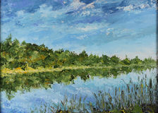 Summer landscape, reflection of trees in water, river, clouds Royalty Free Stock Photography
