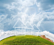 Summer landscape with residential shape Royalty Free Stock Photo