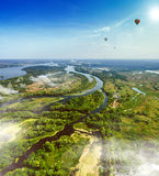 Summer landscape in rich colors from above. Aerial view. Royalty Free Stock Photos