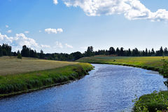 Summer landscape. With River Aura in Lieto, Finland Stock Images