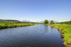 Summer landscape with river and blue sky Stock Images