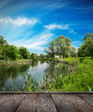 Summer landscape, river and blue sky Royalty Free Stock Photos