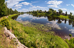 Summer  landscape with river and clouds Stock Photos