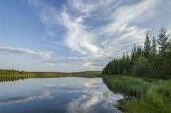 Summer landscape with river and clouds. And forest Royalty Free Stock Photo
