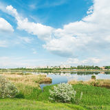 Summer landscape with river and clouds over it Stock Photography