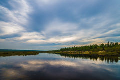 Summer landscape with river, forest, cliffs and waves. Summer landscape with river, forest, taiga, sky Royalty Free Stock Photography