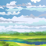 Summer landscape with river. And meadow on background cloudy sky. Vector illustration Stock Image