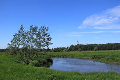 Summer landscape. With river in the Moscow region stock images