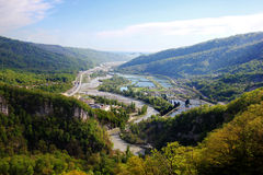 Summer landscape with river and mountain Stock Photography