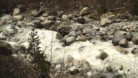 Summer landscape with river and mountain snow. Peak Shkhara Zemo Svaneti, Georgia. The main Caucasian ridge stock footage
