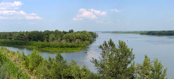 Summer landscape with a river. Panorama Royalty Free Stock Photography