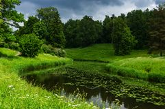 Summer landscape with river in the park of Pavlovsk Stock Photo