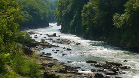 Summer landscape with river stock video footage