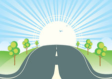 Summer landscape with road. Royalty Free Stock Photo