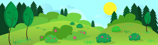 Summer Landscape Road Blue Cloud Sky With Sun Green Grass Forest. Flat Design Vector Illustration Stock Image