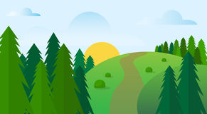 Summer Landscape Road Blue Cloud Sky With Sun Green Grass Forest. Flat Design Vector Illustration Stock Photo
