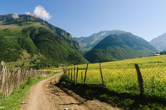 Summer landscape with a road in a mountain village in Georgia Royalty Free Stock Image