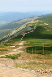 Summer landscape with road in the mountains, Karkonosze, Sudety, Poland Royalty Free Stock Photo