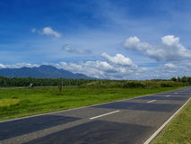 Summer landscape with road through rural land. Tropical nature bright view from highway Stock Photo