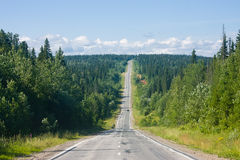 Summer landscape with road, stretching into the distance Royalty Free Stock Photography