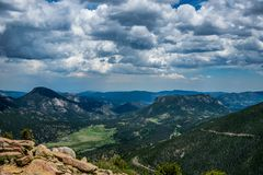 Summer landscape in the Rocky Mountains. Rocky Mountain National Park, Colorado, United States. Summer trip to the US National Parks. Picturesque panorama of the royalty free stock images