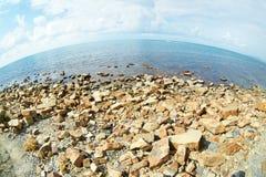 Summer landscape of rocky sea coast Royalty Free Stock Photography