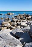 Summer landscape of rocky sea coast. Stock Photo
