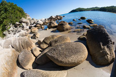 Summer landscape of rocky sea coast. Royalty Free Stock Images