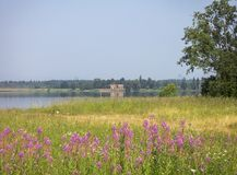 Summer landscape with the ruins of the manor Stock Photography