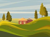 Summer landscape. Rural landscape on the background of meadows. Trees stand on a hill. It`s a nasty day. Cartoon Royalty Free Stock Image